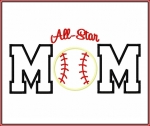 Allstar Baseball Mom Applique