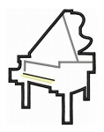 Baby Grand Piano Applique