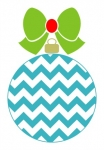 Chevron Christmas Ornament with Solid Bow