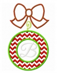 Chevron Ornament Monogram Frame Stitched