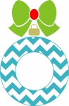 Chevron Christmas Ornament Monogram Frame