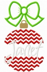 Chevron Split Christmas Ornament Stitched