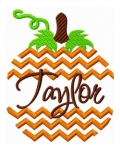 Chevron Striped Split Pumpkin Embroidery Design