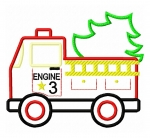 Firetruck with Christmas Tree Appique
