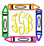 Color Crayon Monogram Frame