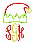 Elf Hat Monogram Topper Applique