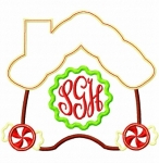 Gingerbread House Monogram Frame Applique