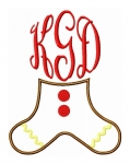 Gingerbread Legs Monogram Frame Applique