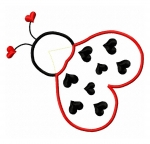 Heart Ladybug Applique Design