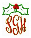 Holly Leaves Monogram Topper Applique