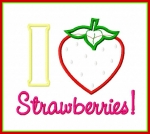 I Heart Strawberries Applique Saying