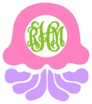 Jelly Fish Monogram Frame SVG