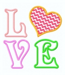 Love Word Applique with Chevron Heart
