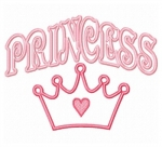 Princess Word Applique with Crown Applique