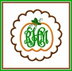 Pumpkin Scalloped Applique Frame