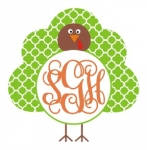 Quatrefoil Turkey Monogram Frame SVG