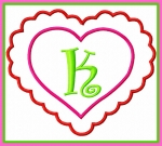 Scalloped Double Heart Monogram Frame