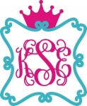Scroll Monogram Frame with Crown
