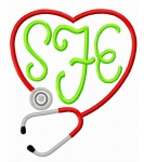 Stethoscope Heart Monogram Frame