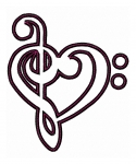 Treble and Bass Clef Heart Applique