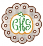Embossed Pumpkin Scalloped Monogram Frame