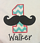 Mustache Numbers Applique